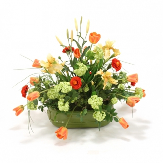 Bittersweet Silk Floral Arrangement of Tulips, Ranunculus and Iris in Lions Head Sage Green Glazed C