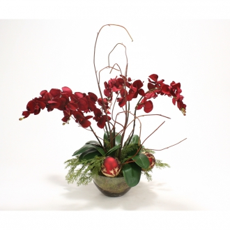 Burgundy Red Orchids in Glass Bowl