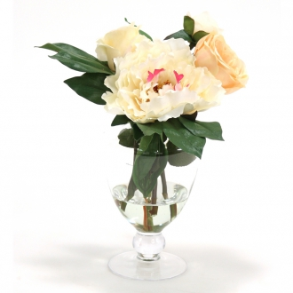 CHAMPAGNE PEONY ® ROSES INGLASS FOOTED VASESECTION 8