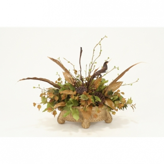 Fall Silk Foliage and Natural Mix of Feathers and Pods in Sierra Beige Feather Planter