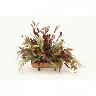 Fall Silk Foliages, Grasses and Pods in Stained Rectangle Wood Planter