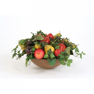 Faux Fruit Abundance Nestled with Foliage in an Olive Washed Bowl