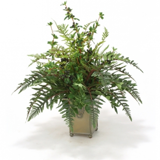 Firethorn Berries, Mountain Ash and Forest Fern in Mustard Square Ceramic Planter with Lion Motif