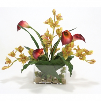 GREEN BURGUNDY ORCHIDS AND BURGUNDY CALLAS IN RECTANGULAR VASE