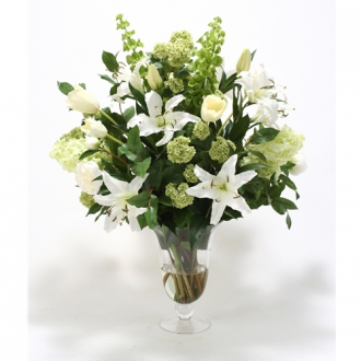 Large Waterlook ® Silk Neutrals and Green Mix in a Footed Vase