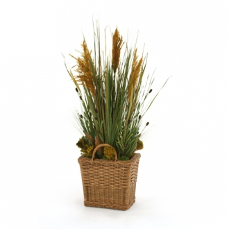 Mixed Grasses, Plumes and Clover in Small Floor Basket