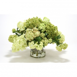 Mixed Green and Cream Hydrangeas and Snowballs in a Glass Cylinder