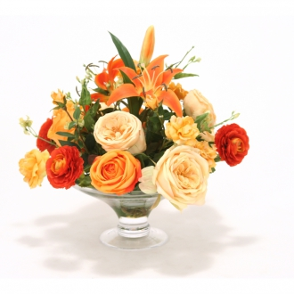 ORANGE AND GOLD  ROSES, RANUNCULUS, LILIES  IN GLASS COMPOTE