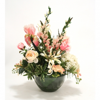 Pink and Ivory Mixed Garden Floral in Round Glass Bowl
