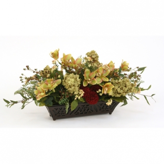 Red, Green and Brown Silk Floral Mix in a Rectangular Espresso Filigreed Planter