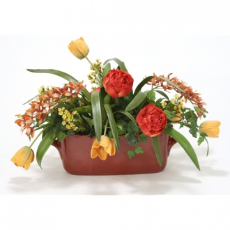 Rust, Green and Gold Silk Garden Floral Mix in a Red Oval Ceramic French Tureen