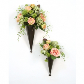 (Set of 2) Pink and Green Silk Floral Nosegays in Bronze Metal Cones