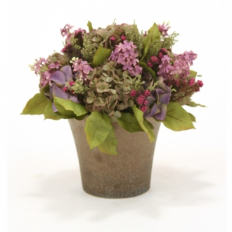 Silk Blue Purple Lilac and Green Purple Hydrangea Mix with Greenery in Bronze Orchid Pot