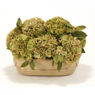 Silk Green and Brown-Green Hydrangeas in a Large Oval Planter
