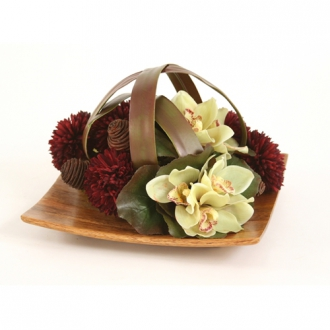 Silk Green Orchid Bouquets and Burgundy Mums Caged by Blades on a Wood Tray