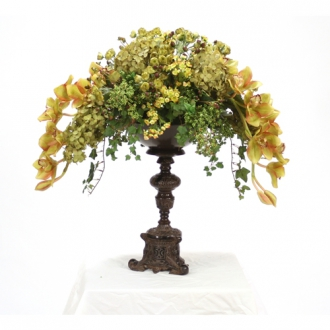Silk Green-Brown Foliage and Floral Mix on an Ornate Espresso Pedestal