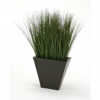 Silk Green-Brown Grass in a Black-Bronze Rectangular Tapered Planter