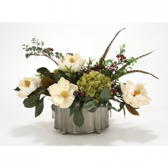 Silk Magnolias, Hydrangeas, Berries and Feathers in a Black Pewter Oval Planter