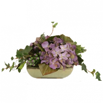 Silk Purple-Blue Hydrangeas and Groundsel with Mountain Ivy in a Small Square Tray