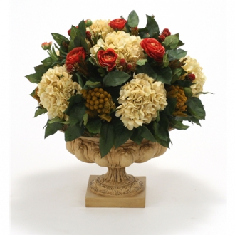 Silk Ranunculus and Hydrangeas in a Large Decorative Relief Urn