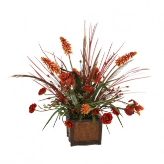 Silk Rust Iris, Ranunculus and Red Hot Poker with Dried Grasses in a Chateau Planter
