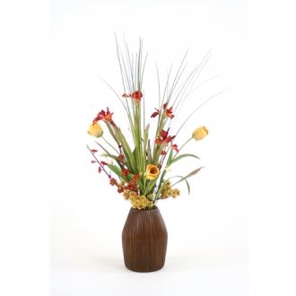 Silk Tulips, Peach Blossoms and Iris in a Chocolate PenciL/Rattan Vase