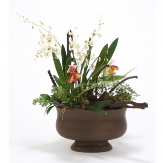 Silk White Orchids, Lady Slippers in Oval Brown Concrete Planter