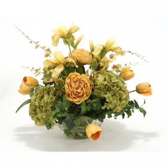 Traditional Floral Mix in Gold and Green Tones with Peony, Hydrangea, Iris, Tulips and Orchids in Ro