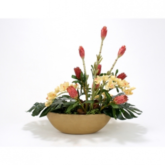Tropical Mix Silk Floral Arrangement in Honey Walnut Oval Terrazzo Planter