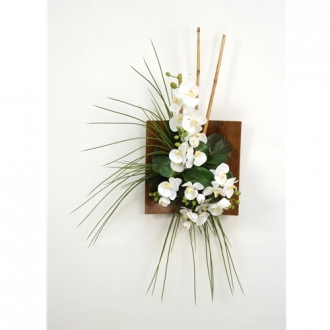 Wall Hanging with Silk Orchids, Bamboo and Grass in a Wood Sushi Tray (RIGHT Facing)