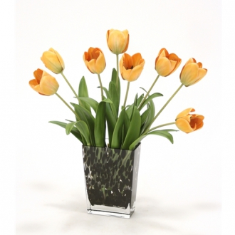 Waterlook ® Antique Gold Tulips in Small Leopard Vase