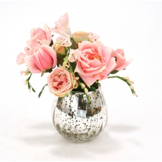 Waterlook ® Antique Pink Roses and Freesia in Mercury Glass