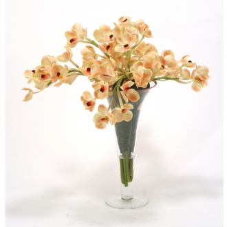 Waterlook ® Champagne Vanda Orchids with a Split Philodendron Leaf in Gold Rim Trumpet Vase