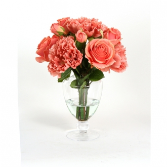 Waterlook ® Coral Mix of Silk Peonies and Roses in a Footed Glass Urn