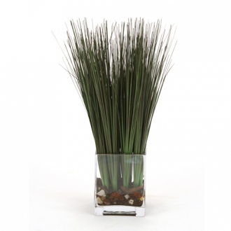 Waterlook ® Faux Green Grass in a Rectangular Glass Vase