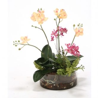 Waterlook ® Fuschia Silk Orchid Garden with Orchid Bark in Low Glass Bowl with Water and Rocks