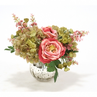 Waterlook ® Green Hydrangeas and Dark Rose Roses in Mercury Glass
