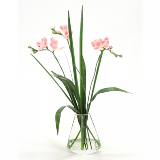 Waterlook ® Pink Freesia with Grass in Rocker Vase