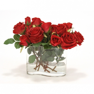 Waterlook ® Red Roses in Wiggle Glass Vase