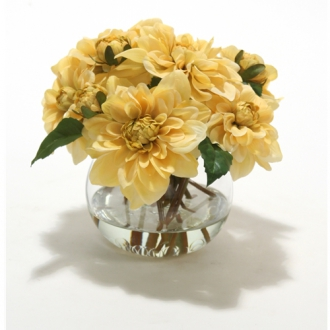 Waterlook ® Silk Cream-Gold Dahlia Nosegay in a Small Glass Bowl (Pack of 3)