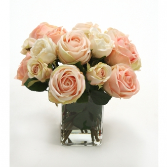 Waterlook ® Silk Cream-Pink Roses in a Clear Glass Square