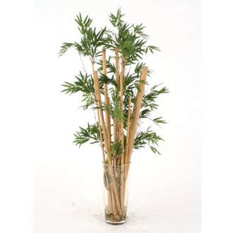 Waterlook ® Silk Leafy Bamboo in a Tall Glass Floor Vase