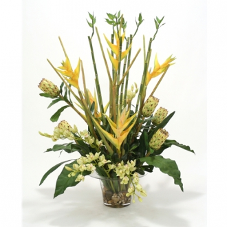 Waterlook ® Silk Orchids, Protea, Heliconia and Bamboo in a Rimmed Vase