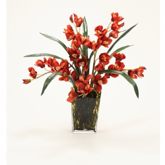Waterlook ® Silk Rust Cymbidium Orchids with Foliage in a Leopard Spotted Glass Vase