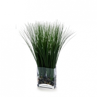 Waterlook ® Silk Varicolored Green Trail Grass in a Glass Rectangle (Pack of 2)