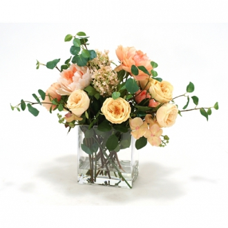 Waterlook ® Traditional Peach and Champagne Garden Mix in Rectangular Glass Vase