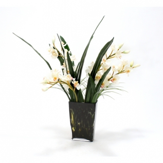 Waterlook ® White Orchids in Spotted Leopard Glass Vase