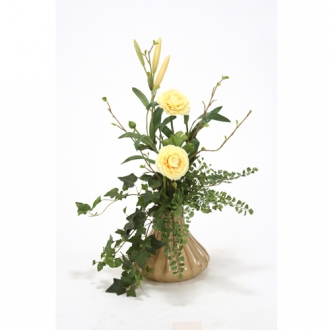 Yellow Silk Floral Ranunculus Arrangement and Assorted Greenery in Milu Tan Small Fluted Vase