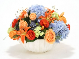 Vibrant Mixed Garden Flowers in Ceramic Vase