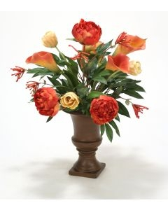 Yellow and Rose Mix of Tulips, Calla Lily and Peonies in a Med Classic Urn